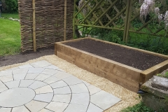 Paving Circle and raised Sleeper beds